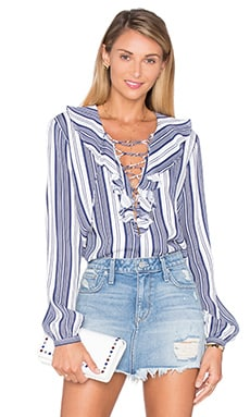 The Ruffle Boho Blouse in Sailor Stripe