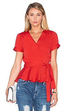 The Retro Wrap Blouse in Red Clay