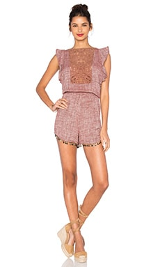 Ravie Applique Romper in Maroon