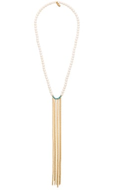 Katia Necklace in Bone, Turquoise & Yellow Gold