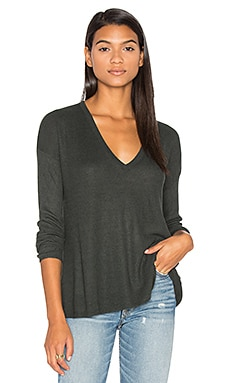 Heather V Neck Sweater in Black Forest