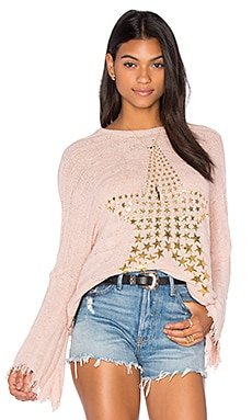 Esme Fringe Bell Sleeve Sweater in Champagne