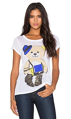 Amelie Foil Style Teddy Tee in White