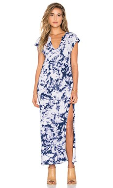 Cap Sleeve V Neck Maxi Dress in Blue Tie Dye