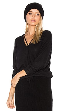 Deep V Strappy Hoodie in Black