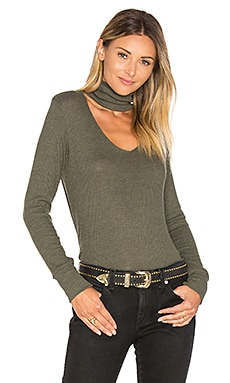 Detached Turtleneck Top in Heather Army