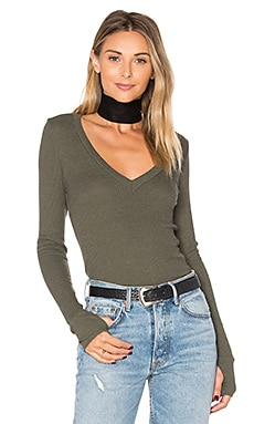 Sloane Deep V Top in Army