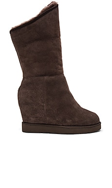 Cosy Shearling Lined Tall Wedge Boot in Espresso