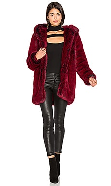 Faux Fur Coat 84 in Blood Red
