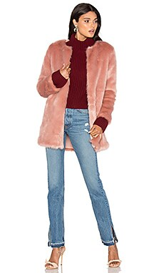 Faux Fur Coat 52 in Mauve