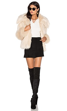 Faux Fur Coat 30 in Ivory