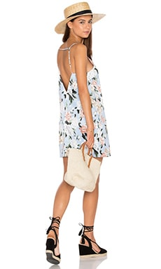 V Neck Shift Dress in Powder Blue Floral