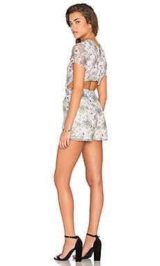 Open Back Printed Organza Romper in Grey & Black Floral
