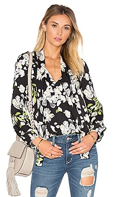 Sophie Blouse in Black Satin Floral