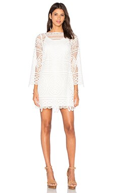 Lady Like Bell Sleeve Tunic Dress in White & White Lining