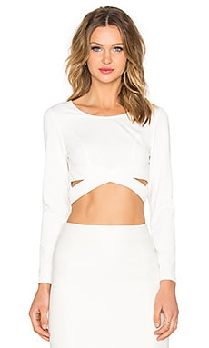 Surreal Silence Wrap Crop Top in White