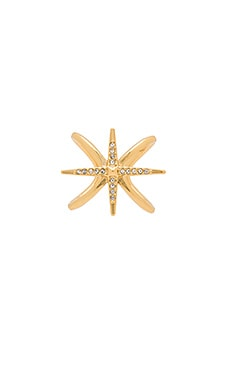 Criss Cross Starburst Ring in Antique Gold