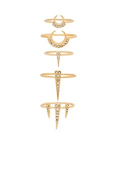 Crescent Spike Ring Set of 5 in Antique Gold