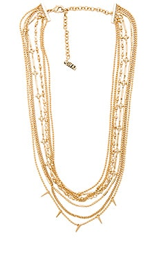 Multi Chain Spike Necklace in Antique Gold