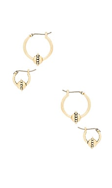The Baroque Hoop Huggies Set in Antique Gold