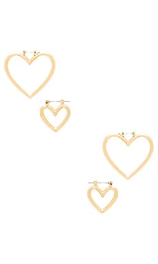 The Heart Hoops Set in Antique Gold