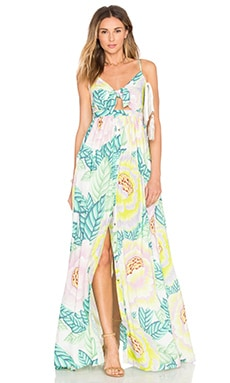 Tie Front Maxi Dress in Flora Stone
