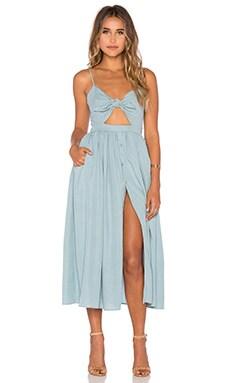 Tie Front Midi Dress in Slate