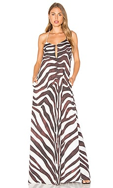 Zebra Maxi Dress in Cream Multi