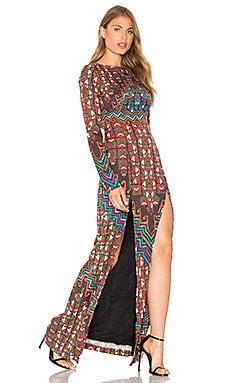 Bolnisi Rug Open Back Maxi Dress in Orange Multi