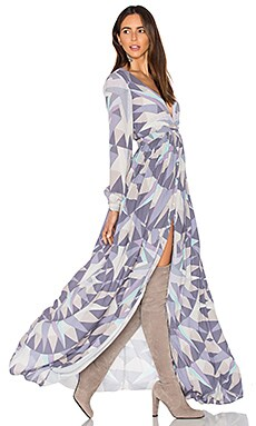 Compass Long Sleeve Maxi Dress in Lavender Grey