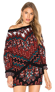 Bolnisi Rug Knit Drop Shoulder Sweater in Burgundy