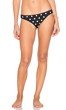 Embroidered Low Rise Bikini Bottom in Polka Dot Black