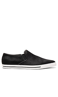 Delancey Pointy Toe Calf Hair Slip On in Black
