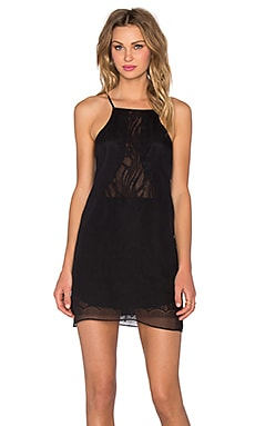 Chiffon Lace Slip Dress in Black