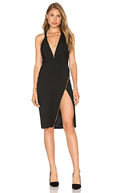 Plunge Zipper Dress in Black