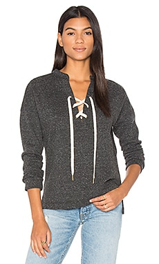 Lace Up Sweatshirt in Charcoal