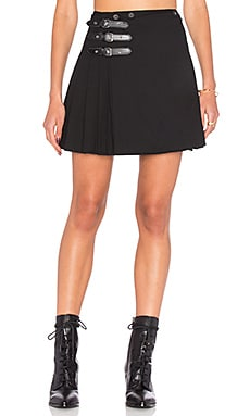 Buckle Pleat Skirt in Black