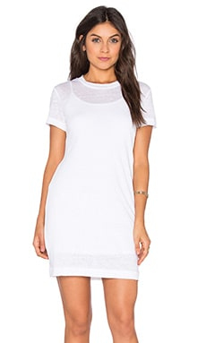 Short Sleeve Scoop Neck Tee Dress in White