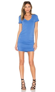 V Neck Rouched Shirt Dress in Cove