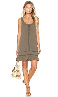 Double Gauze Scoop Neck Crochet Dress in Caper