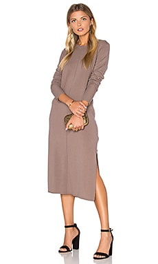 Cashmere Blend Slit Sweater Midi Dress in Quicksand