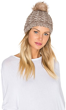 Lattice Knit Beanie with Faux Fur Pompom in Chai