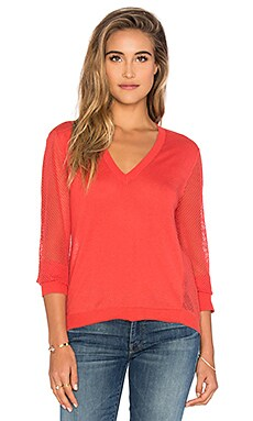 Lightweight V-Neck Mesh Pullover in Coral