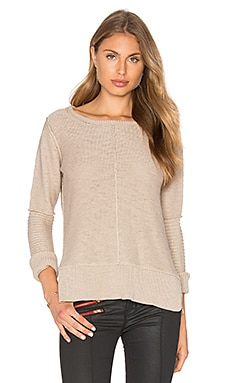 Long Sleeve Engineered Stitch Crew Neck Sweater in Sahara