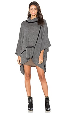 In Check Turtleneck Poncho in Galvanized