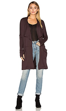 Long Draped Coat in Port