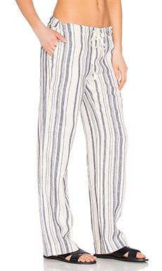 Vertical Stripe Linen Wide Leg Pant in Ivory & Chambray