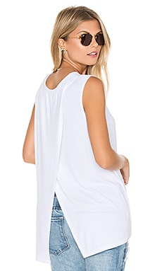 2x1 Rib Cross Back Tank in White