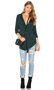 Long Sleeve Tunic Henley Top in Everglades