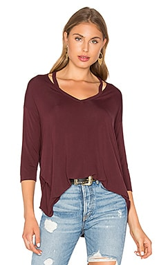 3/4 Slit Shoulder V Neck Top in Rosewood